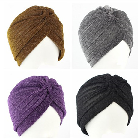 12 Colors Gold Plain Shiny Shimmer Glitter Sparkly Indian Turban Hats Cap Muslim Hijab For Women
