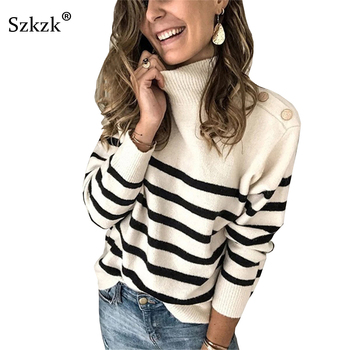 Szkzk Black And White Striped Knit Sweater Button Women Pullover Female Jumper Fall Winter Long Sleeve Turtleneck Sexy Sweaters 1