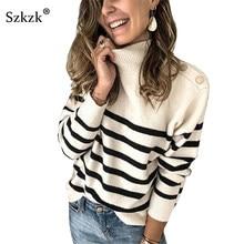 Szzk-pull Sexy à manches longues à col roulé, rayures, boutons, noir et blanc, pull femme, automne-hiver