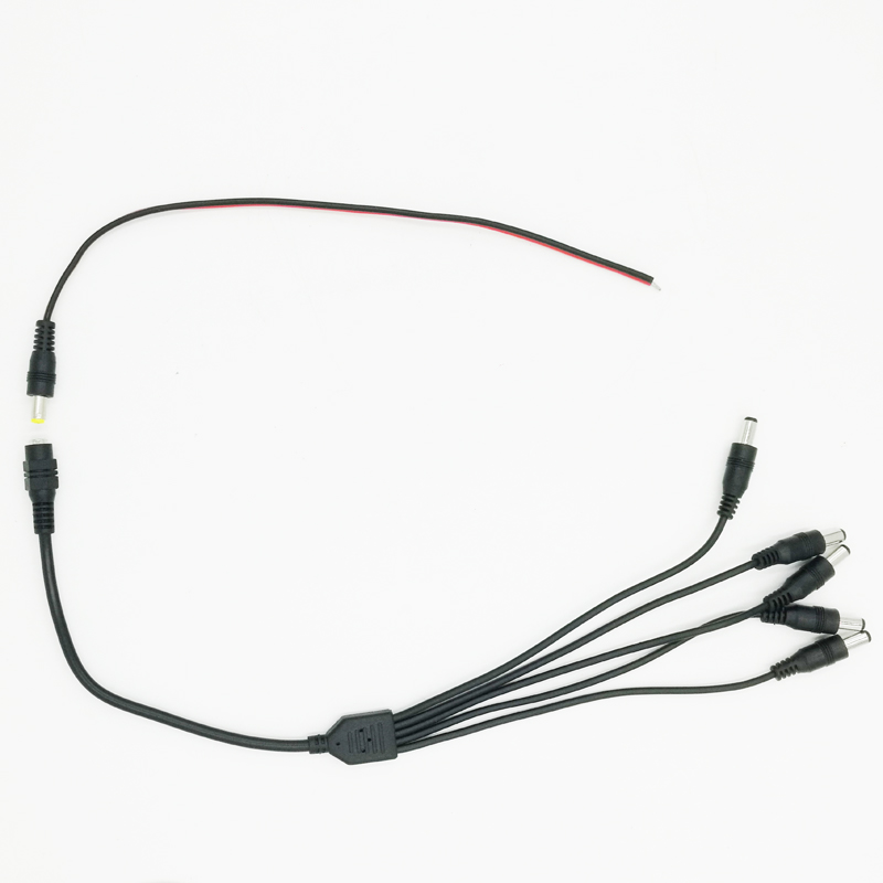DC Power Pigtail Cable + DC 1 Female To 5 Male Output Power Splitter Cable Y Adapter For CCTV Security Cameras