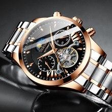 Belushi Mannen Automatische Horloge Luxe Skeleton Tourbillon Klok Heren Rvs Business Waterdicht Mechanische Horloges