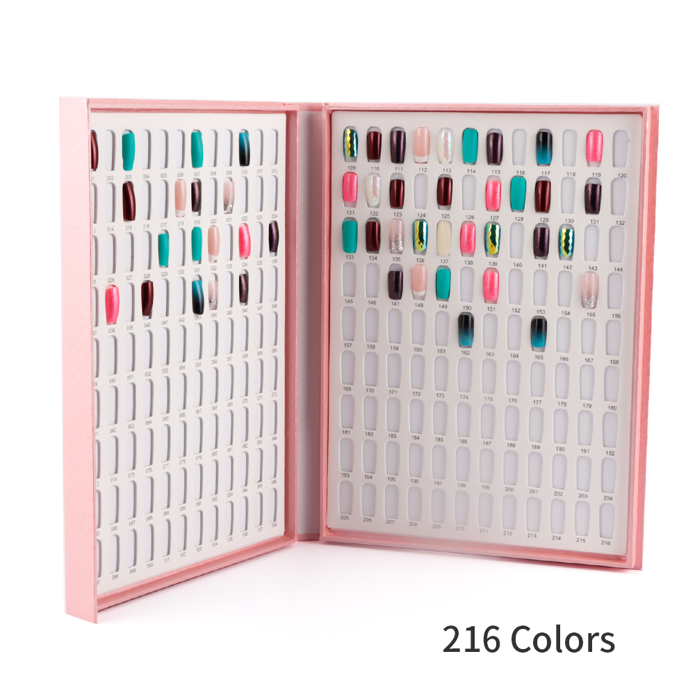 216 Colors Nail Tips Display Book DIY Nail Art Showing Shelf Gel Nail Polish Color Card Chart Painting Dedicated Display Board