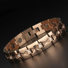 Fashionable Personality Simple Chaotic Titanium Steel Stainless Jewelry Magnet Fatigue and Radiation Protection Bracelet