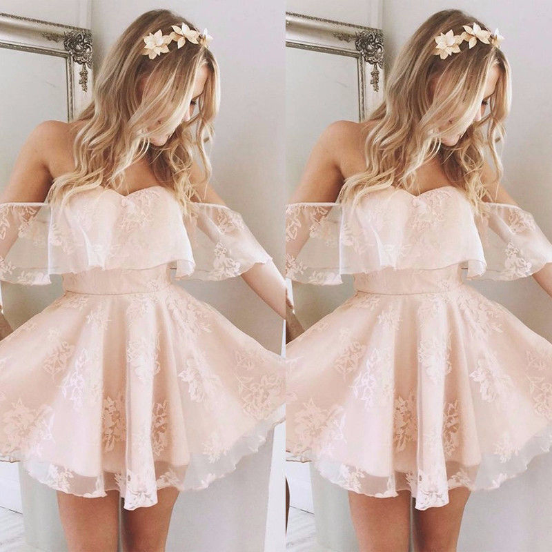 Summer Lace Mini Dress Women Ladies Sexy Ruffles Off Shoulder Chiffon Tulle Tutu Ball Gown Evening Party Dresses