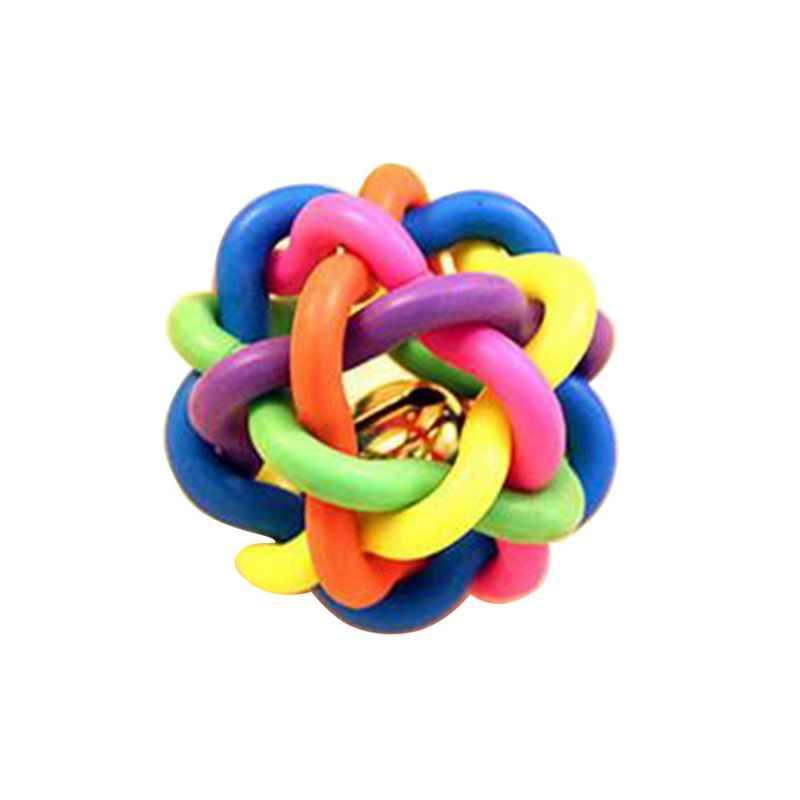 1 шт., игрушка для собак с колокольчиком, цветной ТРП-шар, для кошек, для дома, Незаметная, пищащая, игрушки для собак, щенков, котят, укусов, игрушки для домашних животных