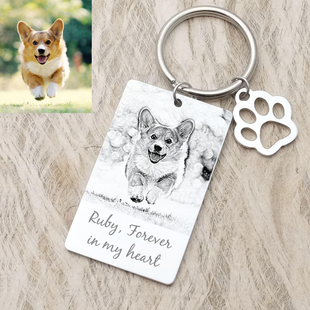 Personalized Dog Tag Photo Keychain Custom Dog Photo Keyring Engraved  Photograph Keychain For Love Dog Keepsake Jewelry