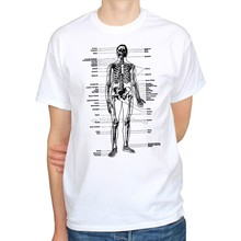Brand New T-Shirts LABELED SKELETON ANATOMY BIOLOGY SCIENCE ART VINTAGE HIPSTER MENS T-SHIRT TEE Print T Shirt Men(China)