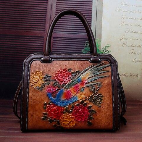 Bolsa do Couro Camada de Couro em Relevo Bolsas de Ombro Genuíno Tote Crossbody Bolsas Floral Fêmea Primeira Mulheres Mensageiro Alça Superior