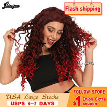 цена на Ebingoo Long Afro Kinky Curly Synthetic Lace Front Wigs Two Tone Ombre Red Wig with Widow Peak Heat Resistant Fiber for Women