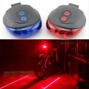 Wodoodporne światła rowerowe tylne światła rowerowe Taillight rowerowe światła rowerowe 5 LED 2 Laser 7 tryb Flash akcesoria rowerowe tanie i dobre opinie LJHR054 Sztyca Baterii