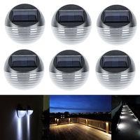 2LEDs Solar montaje en pared al aire libre de la luz impermeable blanca caliente LED jardín valla de patio de la lámpara de colector Solar reflector