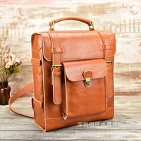 Head Layer Cowhide Backpack Vegetable Tanning Leather Both Shoulders Back Men And Women General Purpose