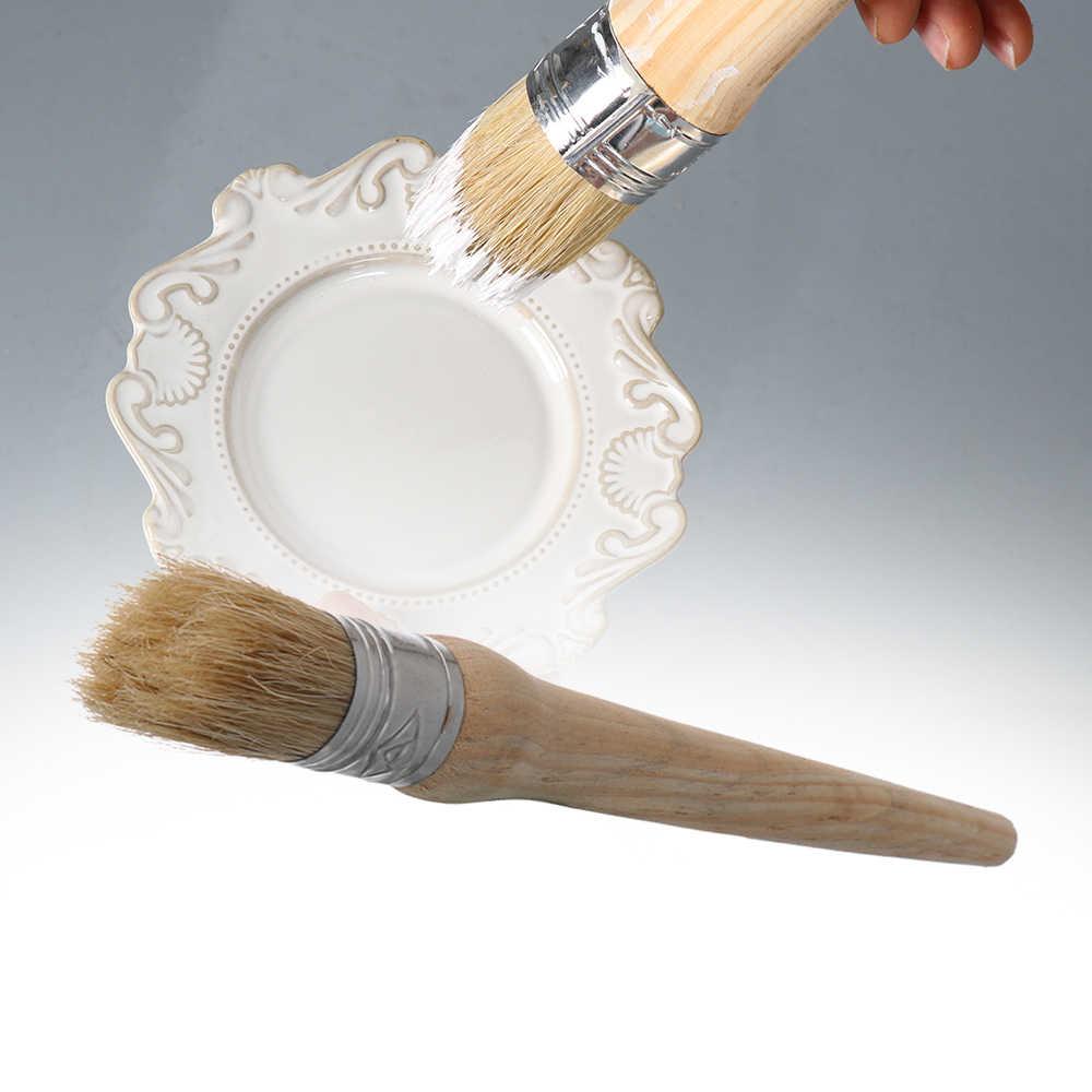 20/25/30/40/50mm cerdas redondas tiza pintura al óleo cera mango de madera cepillo cepillo de limpieza de coche de artista