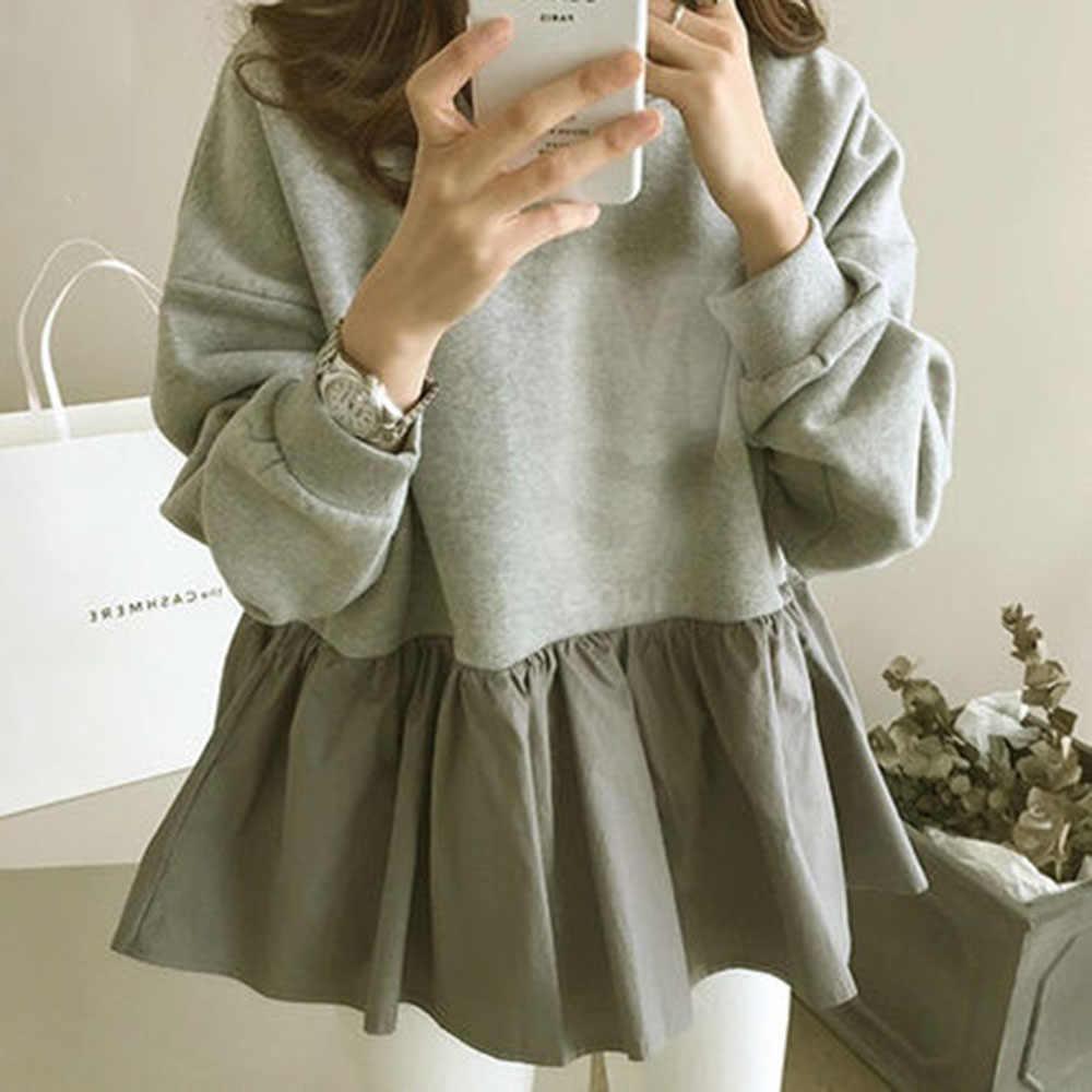 봄 긴 소매 여성 까마귀 한국 패션 주름 장식 패치 워크 루즈 풀오버 탑스 하라주쿠 대형 스웨터 Streetwear
