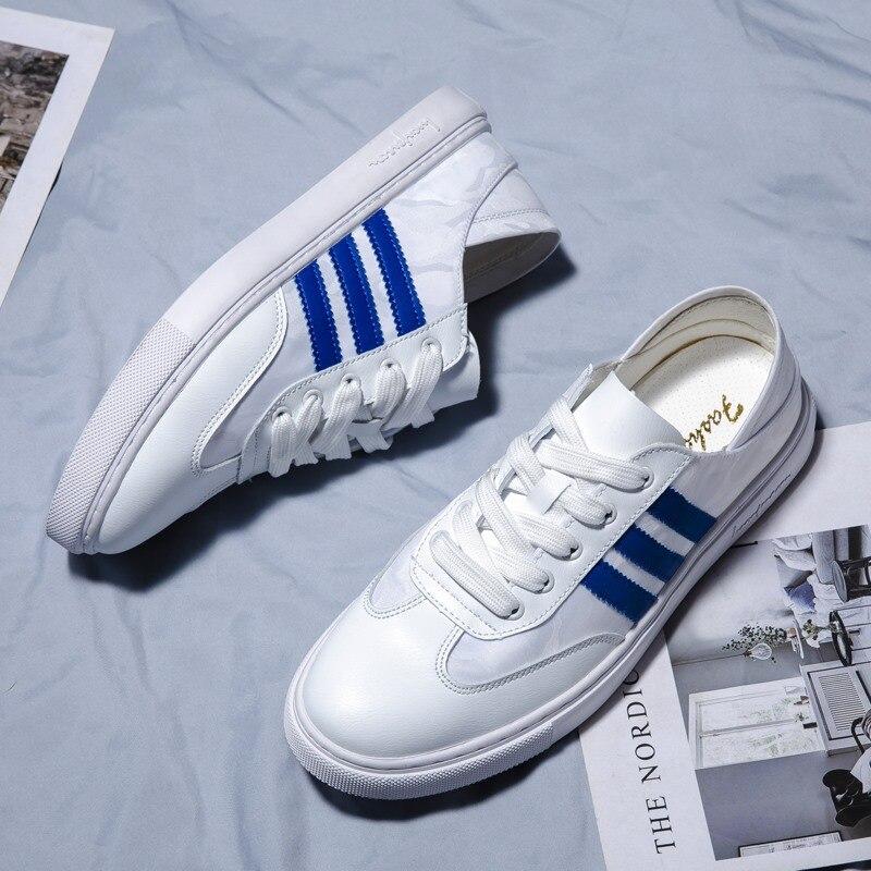 Nouveau Style hommes plat chaussures décontractées tempérament rue Snap printemps polyvalent style coréen mode jeunes étudiants chaussures blanches