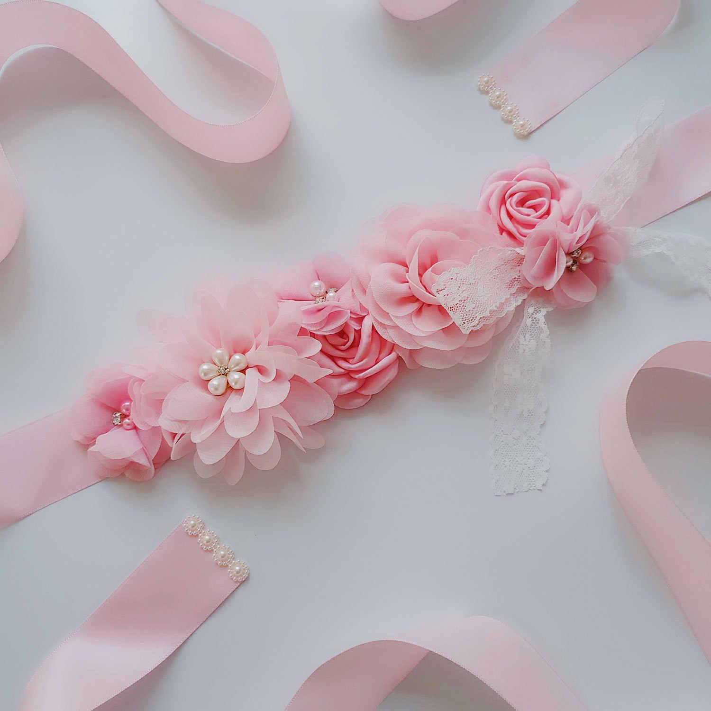 Frauen Elegante Fünf Blume Gürtel Blume Mädchen Strass Perlen Bund Braut Band Cummerbunds Spitze Schärpen Hochzeit Taille Gürtel