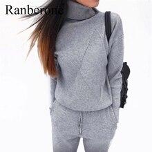 Ranberone осенне зимний женский спортивный костюм однотонный