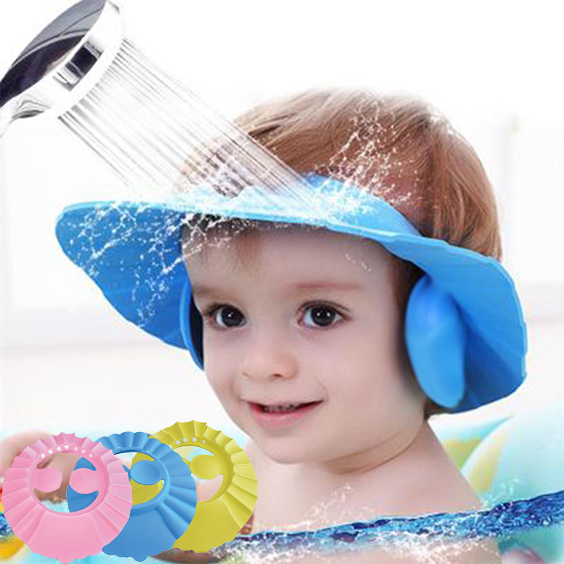 Baby Shower Caps Shampoo Cap Wash Hair Kids Bath Visor Hats Adjustable Shield Waterproof Ear Protection Eye Children Hats Infant
