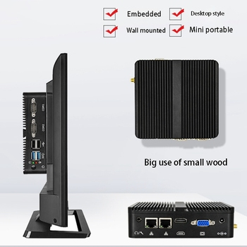 HOT-J1900Quad-Core Mini Industrial Computer Barebones Dual Network 4G Fanless Industry Computer Suitable for Office(US Plug)