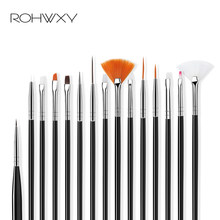 Rohwxy novo profissional uv gel escova de arte do prego conjunto para gradiente design gel polonês pintura desenho caneta manicure unhas dicas ferramentas