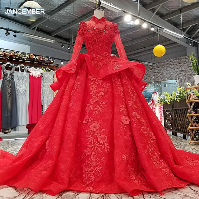 LS0993 red high neck brides wedding party dresses long tulle sleeve lace up back beauty cheap evening dress real price as photos