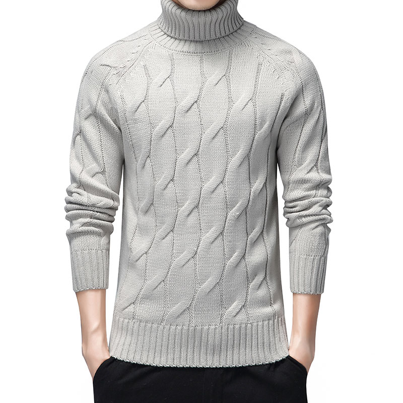 Black Turtleneck Sweaters Men Thick Warm Winter Sweater for Men New Casual Pull Homme Cotton Pullover Men Geometric Pattern Coat