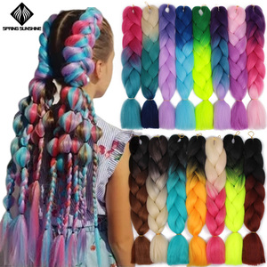 Spring sunshine 24inch Jumbo Braids Long Strands Ombre Crochet Braid Synthetic Braiding Hair Extensions for Woman Blonde Pink(China)
