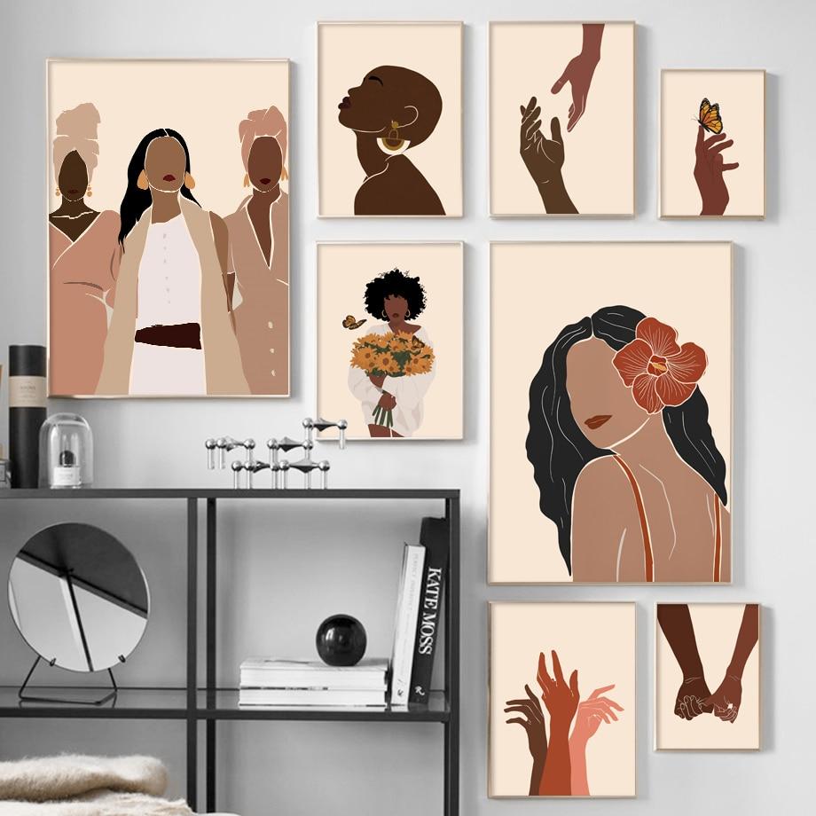 Streszczenie czarna dziewczyna ilustracja afrykański obraz ścienny na płótnie Nordic plakaty i druki obraz ścienny na wystrój salonu