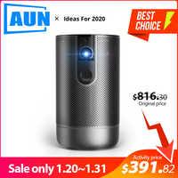 AUN Full HD Projektor D9, 1920X1080 P, Android 7.1 (2G + 16G) 5G WIFI Batterie, 3D MINI Projektor, Im Freien reise Tragbare Beamer