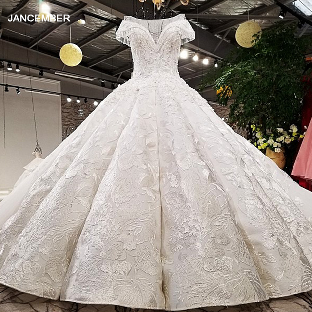 LS59840 see through scoop neck 2018 new design satin cap sleeve big heavy skirt super long train corset back wedding dress
