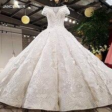 LS59840 vestido de noiva de cetim ver através de scoop pescoço novo design boné manga grande saia pesada super longo trem espartilho volta vestido de noiva 2018