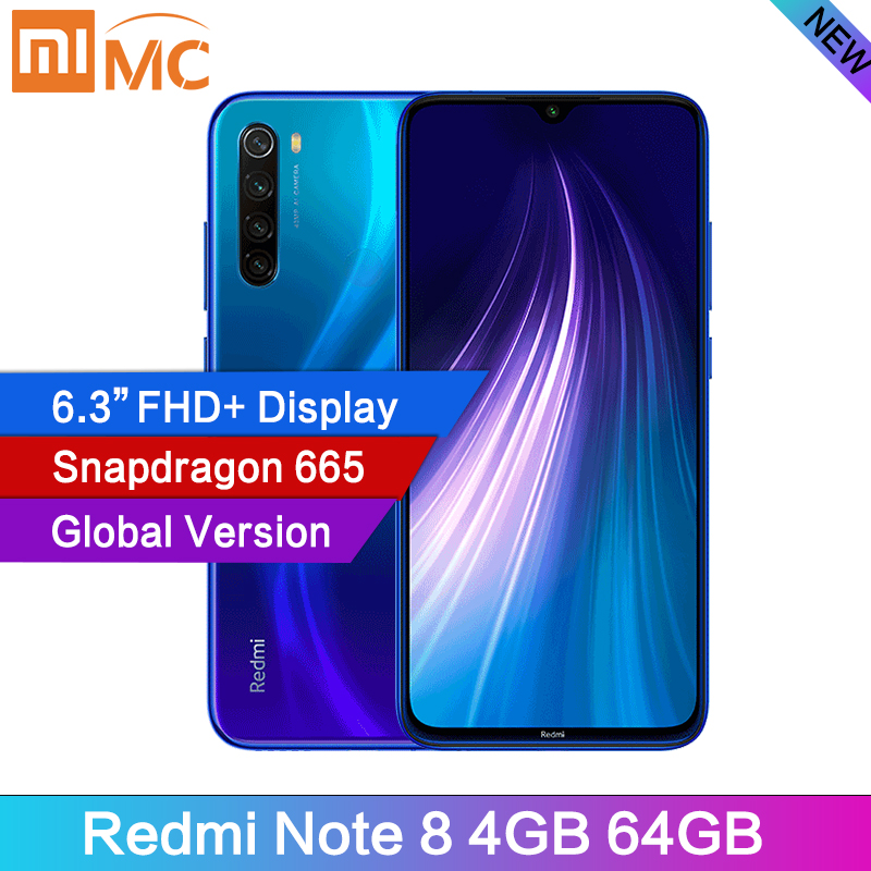 US $150.89 25% OFF|Global Version Xiaomi Redmi Note 8 48MP 4 Cameras 4GB RAM 64GB Smartphone Snapdragon 665 Octa Core 6.3