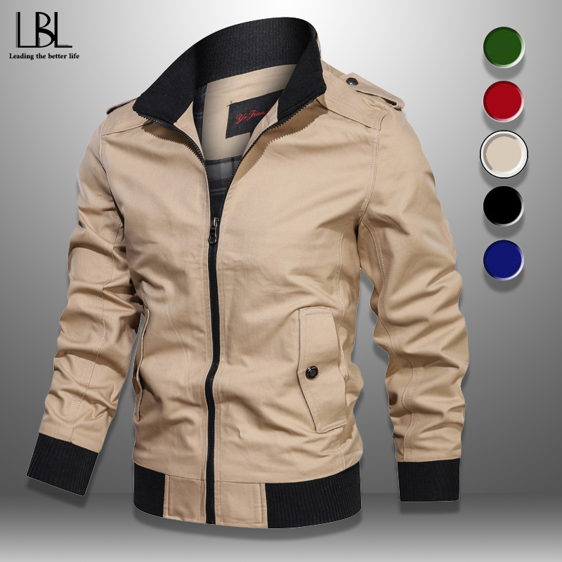 Casual Men's Bomber Jackets Military Spring Autumn Men Coat Outwear 2020 Stand Collar Jacket Mens Baseball Coats Slim Fit 4XL