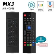 MX3 MX3 L الخلفية ماوس هوائي العالمي الذكية صوت التحكم عن بعد 2.4G RF لوحة المفاتيح اللاسلكية لنظام أندرويد صندوق التلفزيون H96 ماكس X96 mini