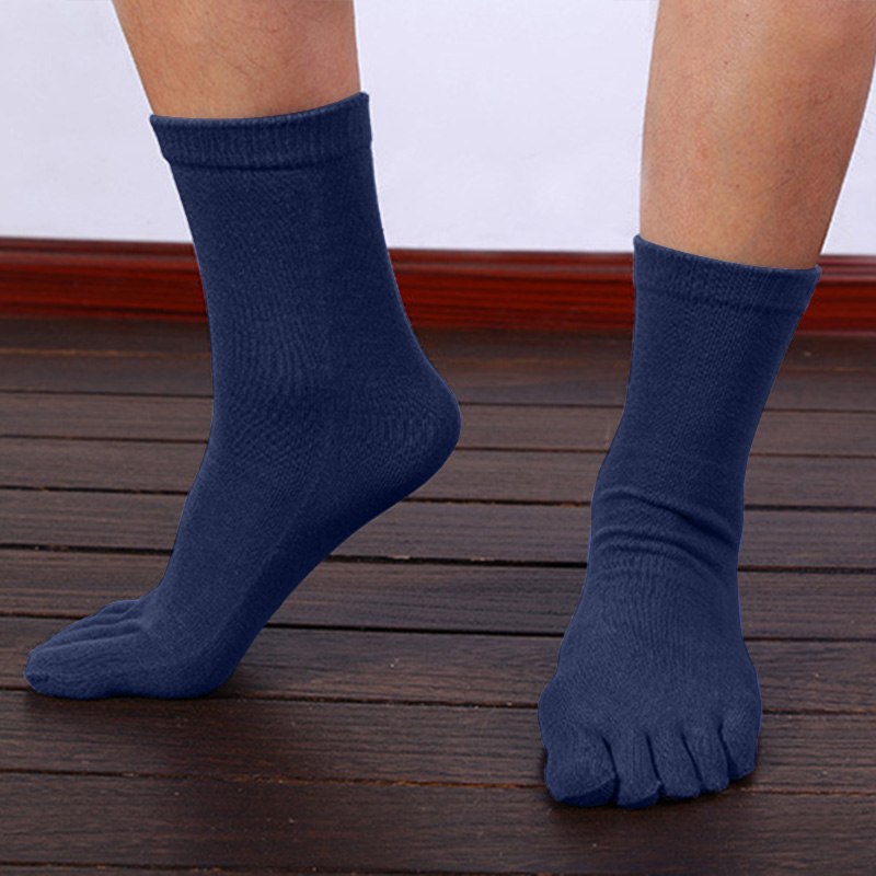 1 Pair Summer Breathable Men's Cotton Toe Socks Pure Sports Basketball Five Finger Socks   FEA889
