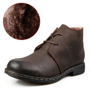 NINYOO/Новые мужские зимние ботинки 50 натуральная кожа 49 теплые Полуботинки martin 47 водонепроницаемые рабочие зимние ботинки 48 размера плюс 51 52 - 2