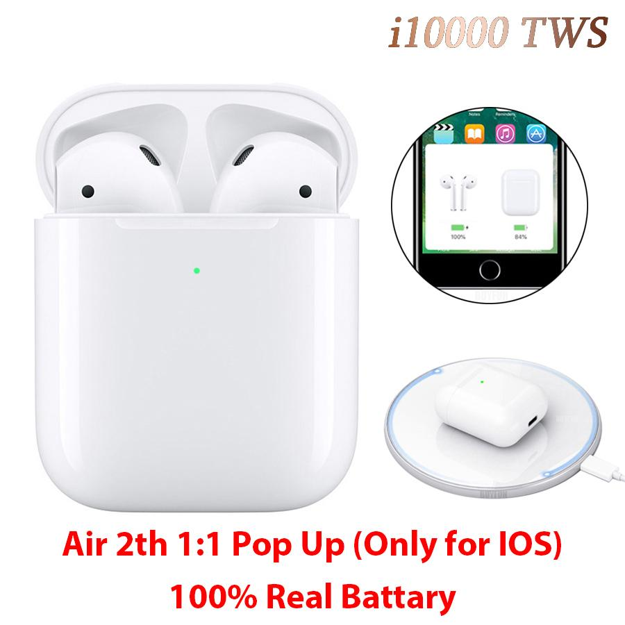 i10000 <font><b>TWS</b></font> Bluetooth 5.0 Earphone 1:1 Replica Air 2 Pop Up Earbuds i10000tws Wireless Charging Earphones PK i80 i500 <font><b>i9999</b></font> <font><b>TWS</b></font> image