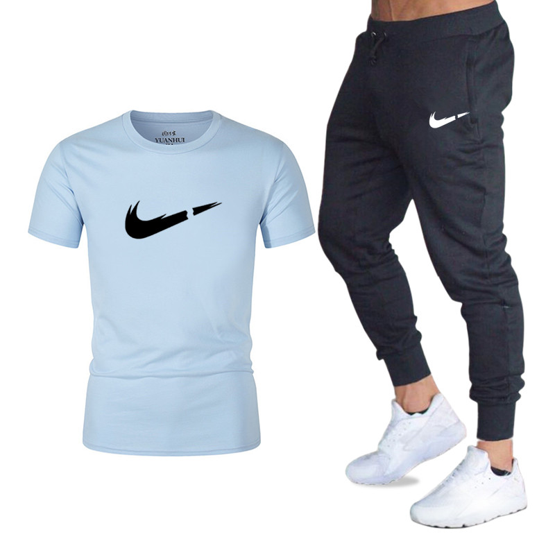 Men's Sets T Shirts+pants Two Pieces Sets Casual Tracksuit Men/Women New Fashion Printing Suits Sportwear Gyms Fitness Trousers