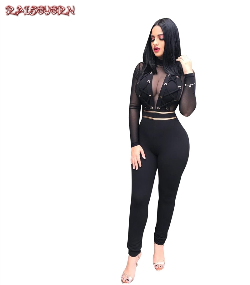 RAISEVERN Black Mesh Lace Sweetheart High Neck Jumpsuit Sexy Banadage Long Sleeve Women Autumn Maxi Elegant Party Jumpsuits