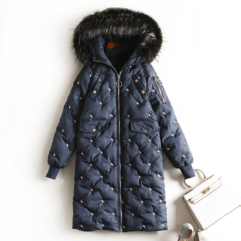Large Size Dress Chubby Sister Mm Winter Black And White With Pattern Mid-length Thick Cotton-padded Jacket Coat Slimming Wester