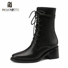 Prova perfetto marca design botas de couro genuíno mulher praça-dedo do pé de pelúcia em salto alto preto laço-up moda tornozelo botas femininas