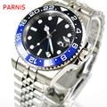 Автоматические Мужские стерильные часы Parnis  черные  синие  черные  керамические  40 мм