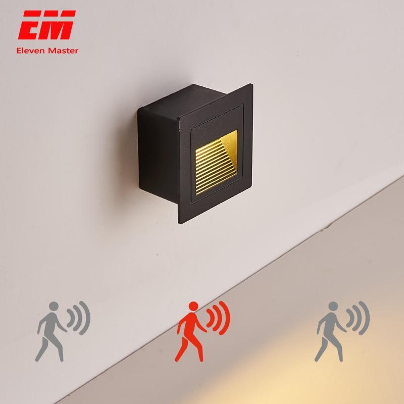 Waterproof Outdoor Led Stair Step Light 3w PIR Motion Sensor  Recessed Wall Corner Light LED Footlight Night Light ZBW0005