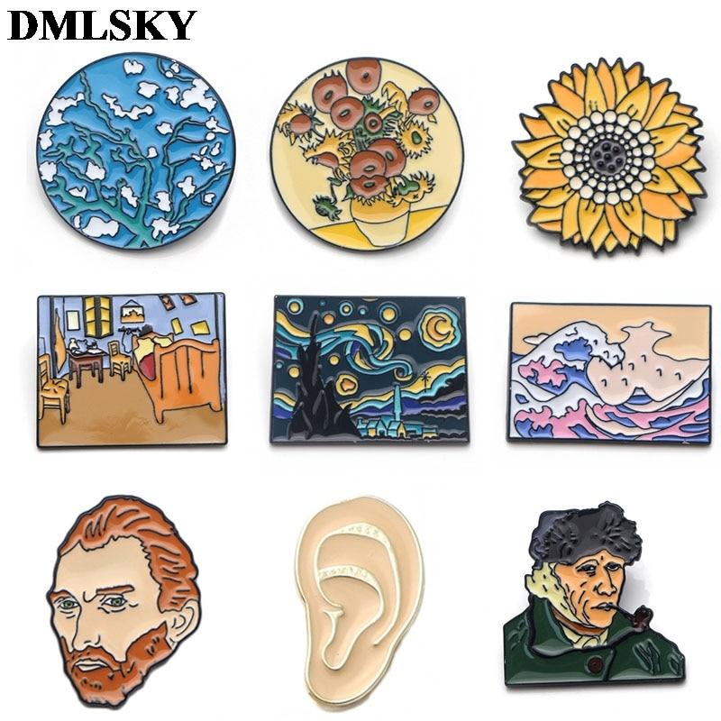 DMLSKY Van Gogh Art Sunflower Cartoon Metal Pins Enamel Brooches For Women Men Lapel Pin Backpack Badge Denim Pin M2935