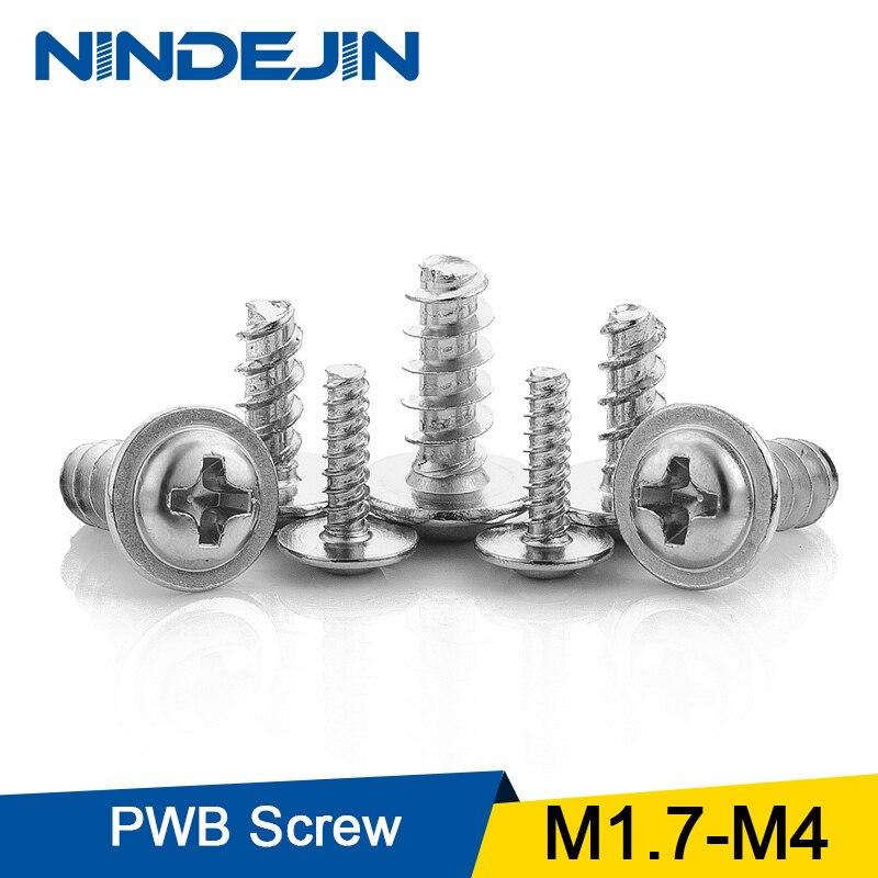 NINDEJIN 40-100pcs Screw PWB Round Head With Washer Self- tapping Screw Nickel Plated PWB Screw M1.7 M2 M2.3 M2.6 M3 M4