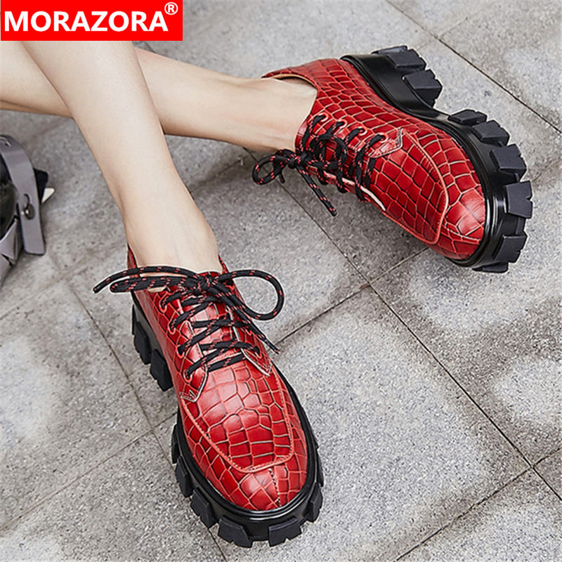 MORAZORA Autumn New Arrive Genuine Leather Casual Shoes Square Heels Round Toe Shoes Woman Fashion Lace Up Comfortable Shoes
