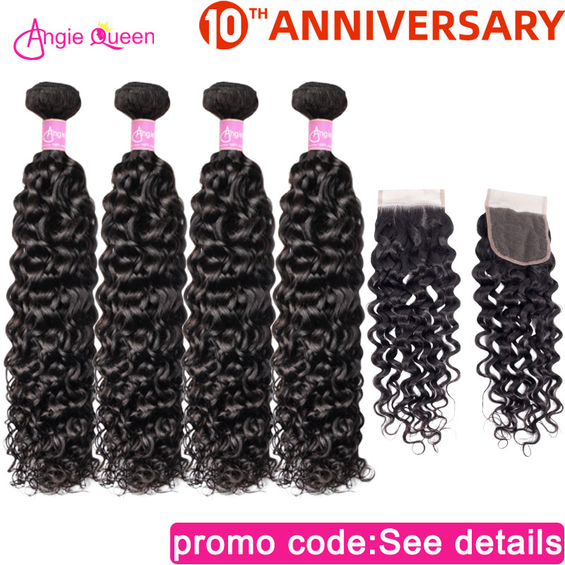Water Wave Hair Bundles With Closure Peruvian Human Hair Bundle With Closure 4 Bundles With Clsoure Three Part 16 18 20 22 24 26