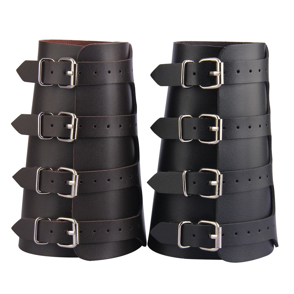 Unisex Leather Gauntlet Wristband Wide Bracer Arm Armor Cuff Bangle Buckle Bracelet