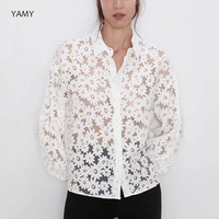 Sunflower embroidered Womens Blouses Shirts Hollow out sexy mesh Womens tops and blouses summer causal thin floral jacket 2019