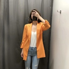 2020 new fashion women's jacket small suit Spring and summer casual mid-length yellow blazer Feminine buttonless jacket